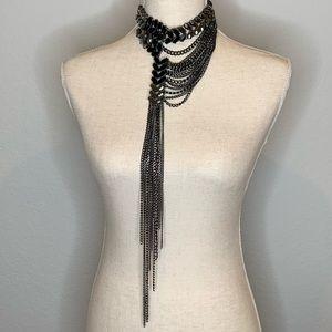 WHBM Black Jewel Silver Chain Necklace Choker
